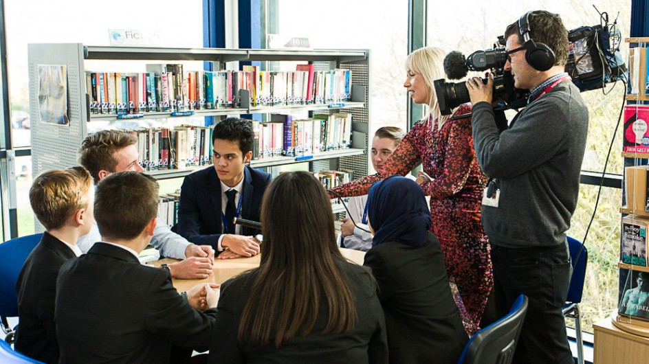 BBC Look East's Leigh Milner interviewing our students